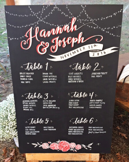 green wedding ideas chalkboard sign seating chart calligraphy