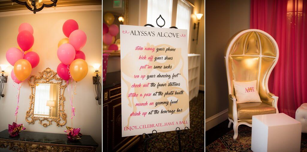 amazingcelebrationsllc.com balloon entryway pink and gold decor