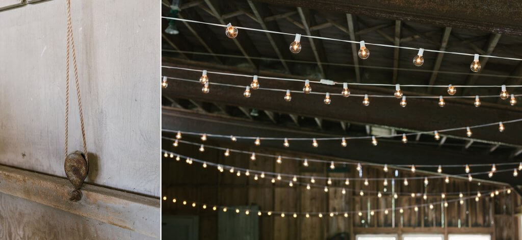 uplighting and string lights in barn for private event