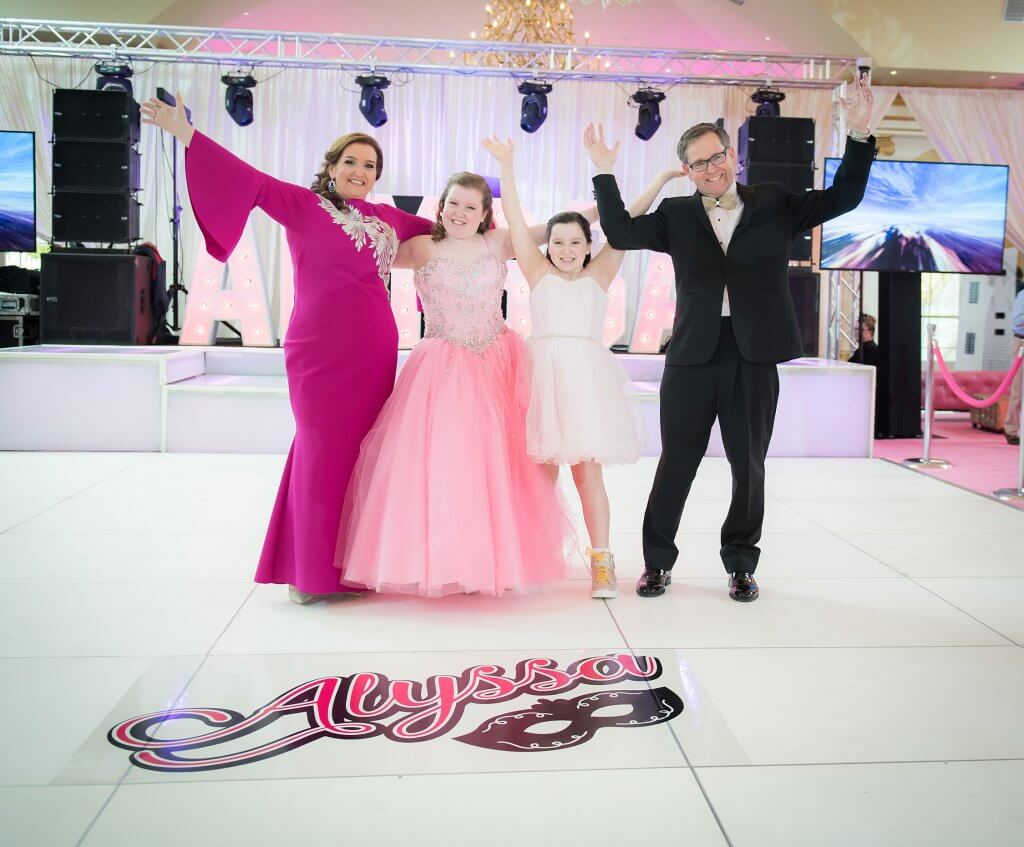 amazingcelebrationsllc.com custom white dance floor with logo bat mitzvah